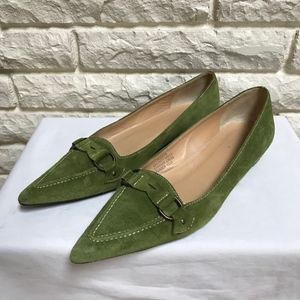 J.Crew green Point brush leather classic loafers 8